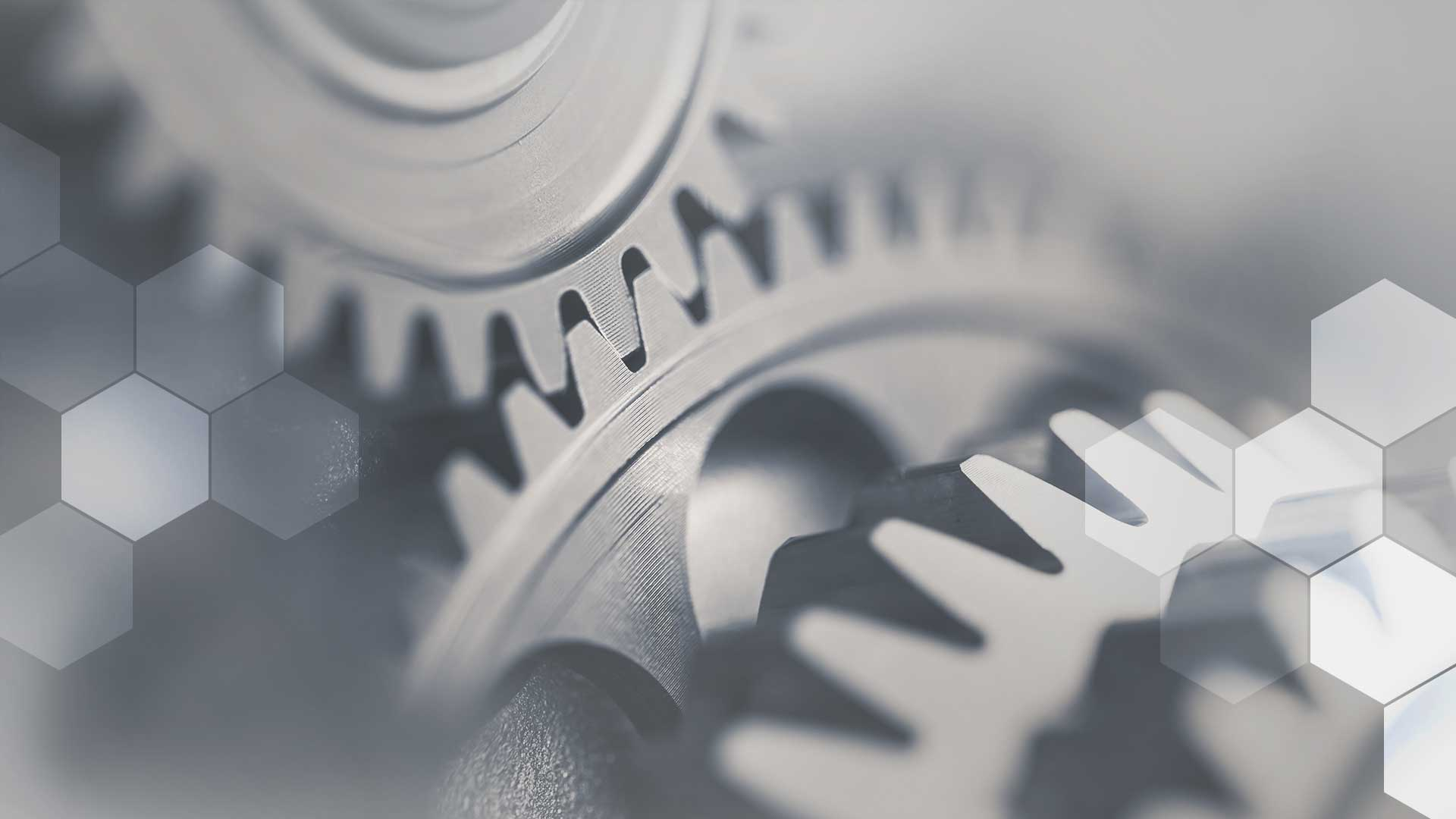 A set of interlocking gears representing CRM integration.